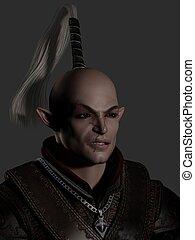 Battle Scarred Elf Warrior Portrait