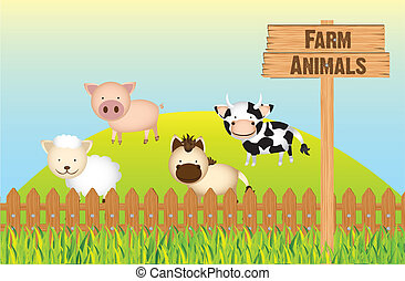 farm animals, cow, horse, sheep and pig