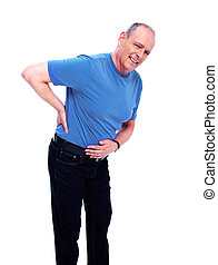 Back pain - Elderly man having a Back pain Isolated on white...