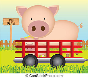 trailer with pig farm background,