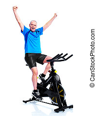 Fitness man. - Happy senior man doing exercises. Sport and...