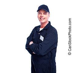 Car mechanic. Isolated on white background.