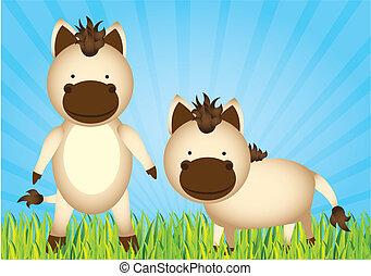 cute cartoon horses