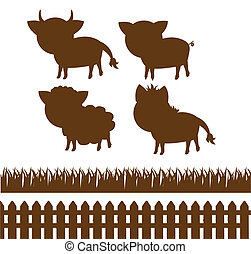 set of farm silhouettes - set of silhouettes of farm...