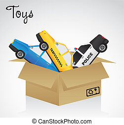 open cardboard box whit car toys, vector illustration