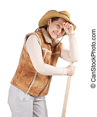 mature  woman  with spade