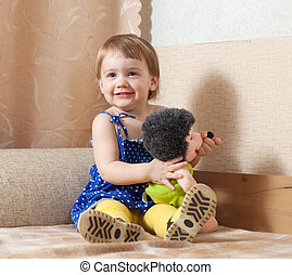 Baby girl  with toy