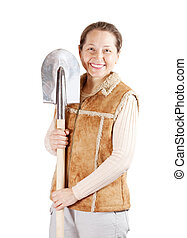 woman   with spade over white