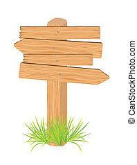 wooden sign, isolated on white background, vector...