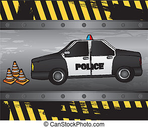 police car on grunge background, vector illustration