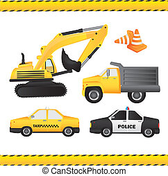 City Car set - Car set contains backhoe, dump truck, taxi,...