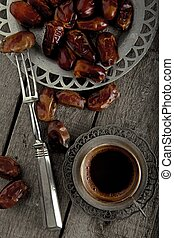 Dried fruits with a coffee