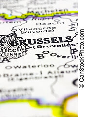 close up of brussels on map, beligium - A close up shot of...