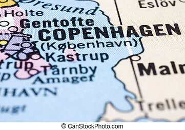 close up of Copenhagen on map, Denmark - Close up of...
