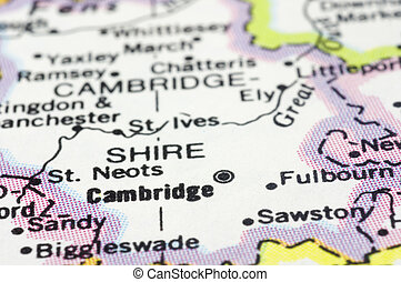 close up of cambridge city on map