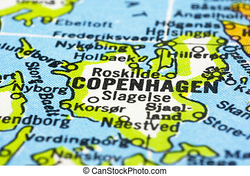 close up of Copenhagen on map, Denmark