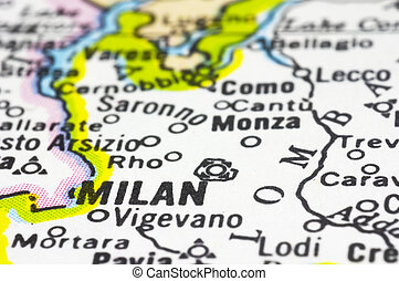 close up of Milan on map