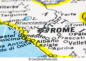 close up of Rome on map, italy