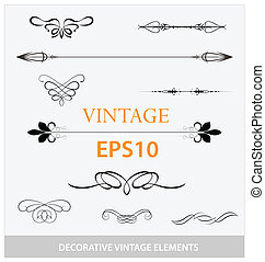 vintage decorative elements big set