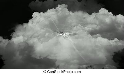 fast flying through storm clouds power rays,time tunnel in...