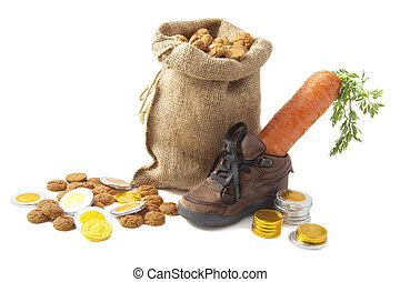 5 december - Chocolate coins carrot in shoe and bag with...