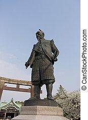toyotomi, jinja, santuario, estatua, japón, hokoku,...