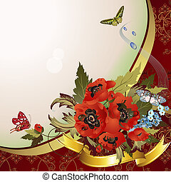 Background with poppies, cornflowers and butterflies
