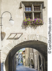 Bard - Medieval village - Bard Aosta, Italy - Street of the...