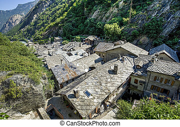 Bard - Medieval village - Bard Aosta, Italy - Panorama of...
