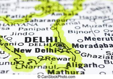 close up of Delhi on map, India - a close up shot of delhi...