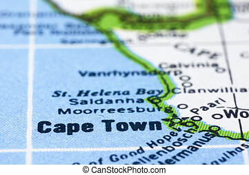 close up of Cape town on map, south africa - a close up shot...