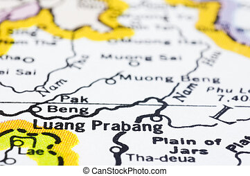 close of luang prabang on map, Laos