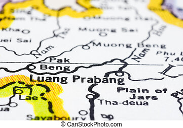 close of luang prabang on map, Laos