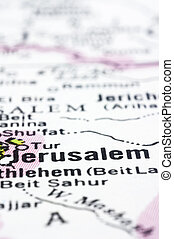 close up of Jerusalem on map, Israel - a close up shot of...
