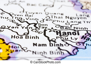close up of Hanoi on map, Vietnam - a close up shot of Hanoi...