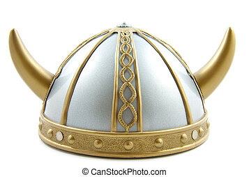 Viking helmet - Decorated old viking helmet on a white...