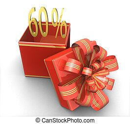 3d gift box with a sign 60% discount on a white background...