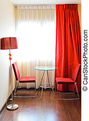 Modern furnitures in the room