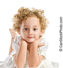 Pretty curly blond  little girl