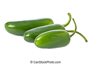 Jalapeno Peppers - Three whole green jalapeno peppers...