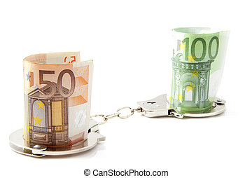 Criminal money - Money in handcuffs on a white background