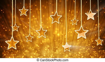gold stars and particles loop - gold stars dangling on a...