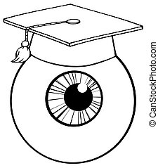 Outlined Eye Ball Cartoon Character