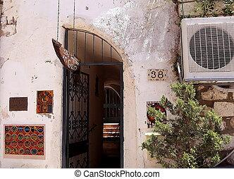 Safed, viejo, ciudad, arte, galería, entrada, 2008