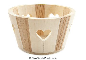 Craftmanship - Pot made of wood isolated over white