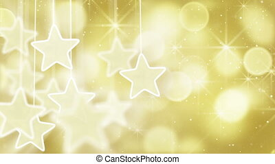 gold stars and bokeh lights loop - gold stars dangling on a...