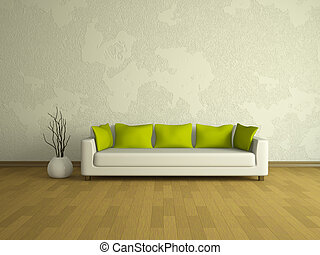 White sofa with green pillows