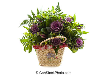 Flower basket - Basket with nice flowers isolated over white