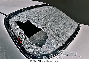 broken car heated rear window - a crashed car heated rear...