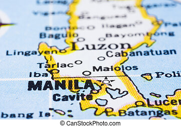 close up of Manila on map, Philippines - a close up shot of...